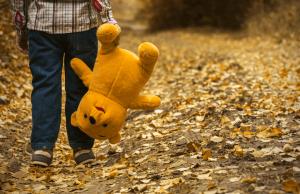 Een klein jongetje dat met zijn gele beer in het bos loopt waar de bladeren van de bomen vallen. Het is herfst