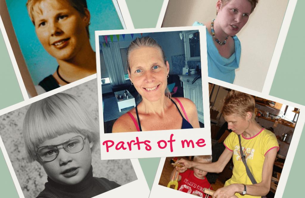 een collage van allemaal foto's van mijzelf, marjolijn knippels, van kleuter, maar puber, naar eind twintiger, begin dertiger, en eentje van toen ik 45 was