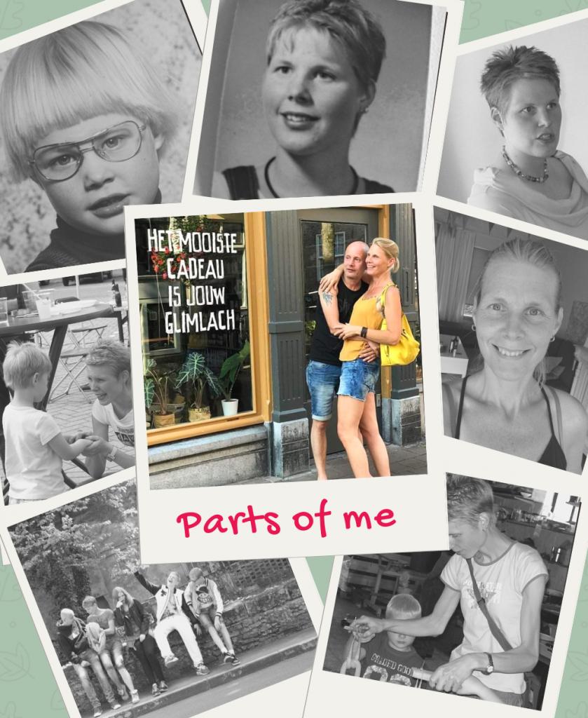 foto collage met foto's uit het leven van Marjolijn Knippels